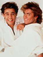 "Musician Andrew Ridgley (l) and singer George Michael in the British band ""Wham"". Picture: Supplied"