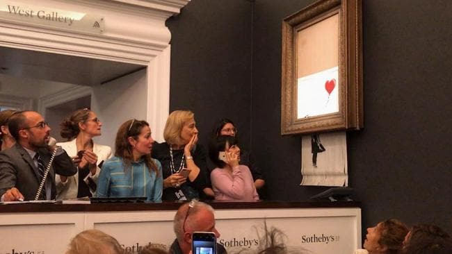 Banksy's Girl With Balloon (2006) mysteriously selfdestructed at the end of a Sotheby's auction. Picture: Instagram