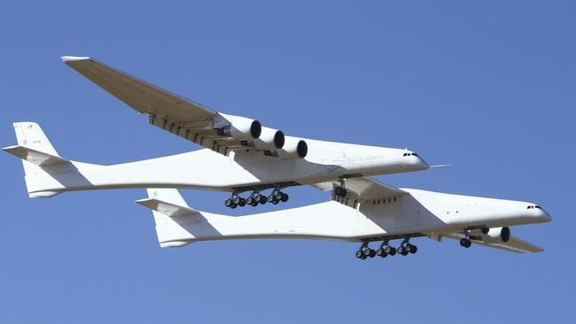Stratolaunch, a giant six-engine aircraft with the world's longest wingspan, makes its historic first flight in the US. Picture: AP Photo/Matt Hartman.
