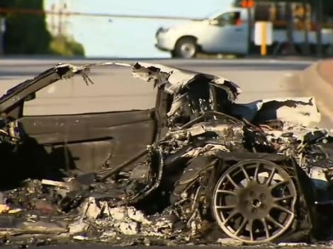 The charred remains of the allegedly stolen Ferrari which crashed in Perth today. Picture: 9news