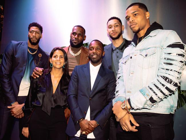 Anthony Davis, Fara Leff, LeBron James, Rich Paul, Ben Simmons, and Miles Bridges attend the Klutch 2019 All Star Weekend Dinner.