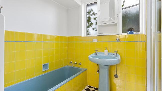 The bright bathroom.