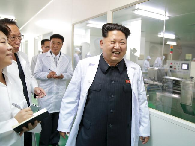 North Korean leader Kim Jong Un loves a caramel latte, we assume. Picture: KCNA