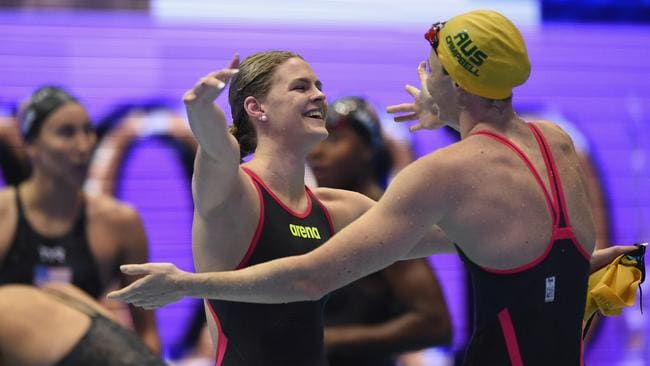 Shayna Jack celebrates with Cate Campbell. Picture: AAP