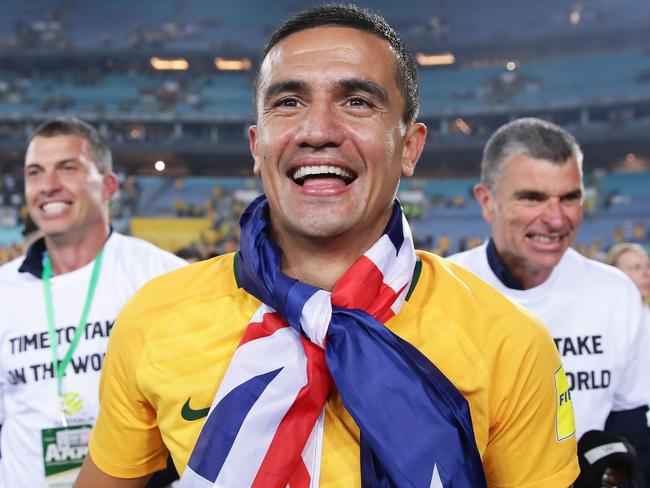 Tim Cahill celebrates 2018 World Cup qualification.