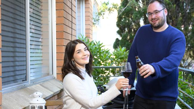 Asleigh and partner Chris at their recently purchased unit in Lane Cove after a long search.