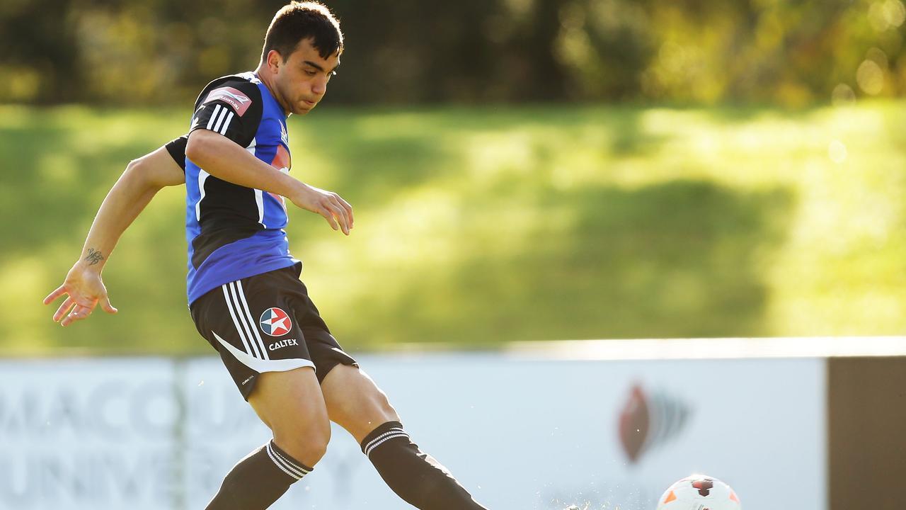 Daniel Petkovski controls the ball during a Sydney FC A-League training session