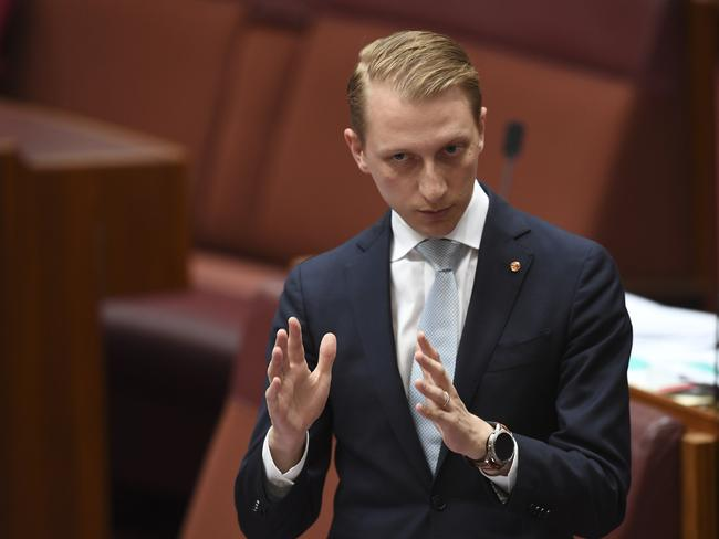 Coalition Senator James Paterson speaks during the same-sex marriage debate in the Senate. Picture: AAP