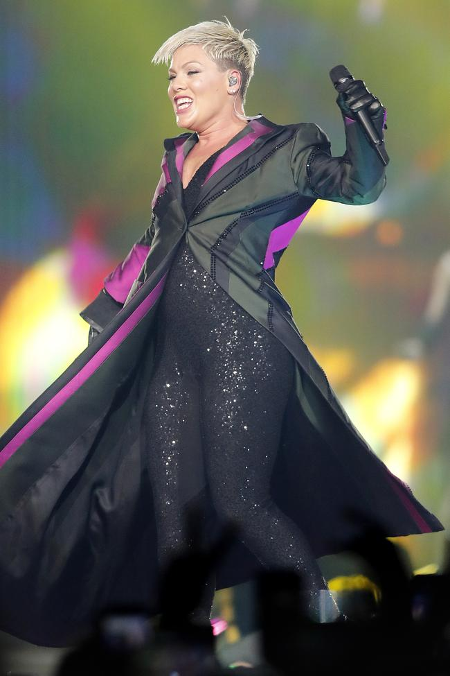 Pink in action at the Brisbane Entertainment Centre last week. Picture: Josh Woning/AAP