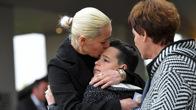 Relatives mourn the death of Sabrina at her funeral. Picture: Tom Huntley