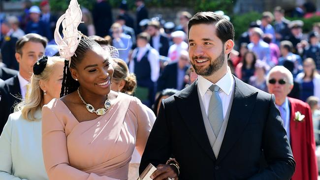 US tennis player Serena Williams and her husband Alexis Ohanian arrive for the wedding ceremony of Prince Harry and Meghan Markle.