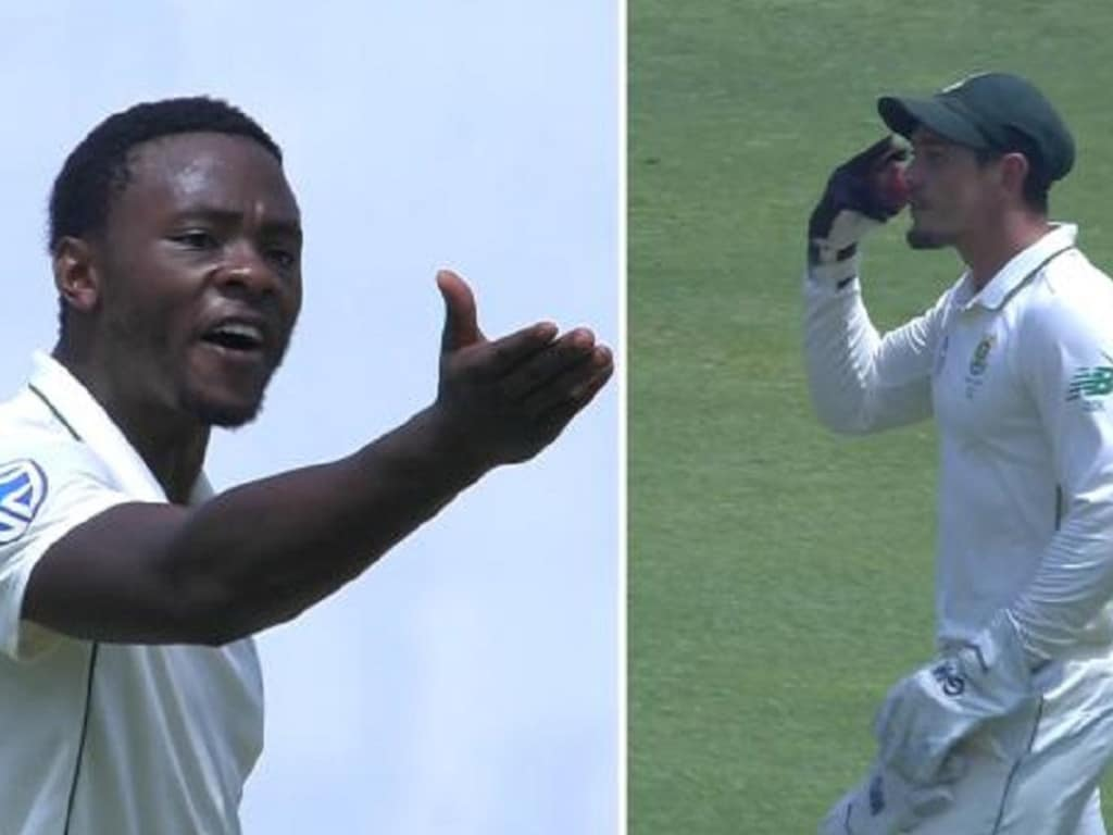 South African paceman Kagiso Rabada and wicket-keeper Quinton de Kock were involved in a heated on-field spat.