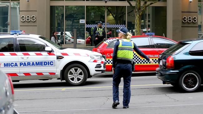 The scene of an alleged shooting outside the Australian Federal Police building. Picture: Tim Carrafa