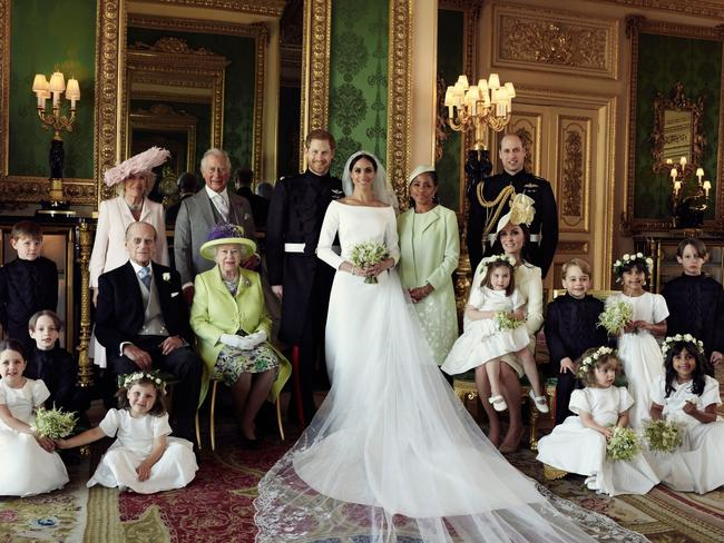The royal family in happier times, on Harry and Meghan's wedding day. Picture: Best Image/BACKGRID