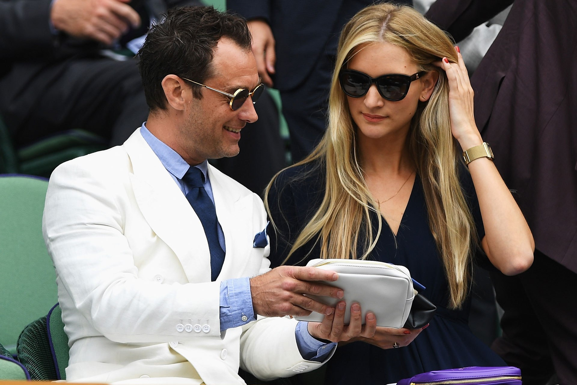 Jude Law and Phillipa Coan at Wimbeldon in 2016. Image credit: Getty Images