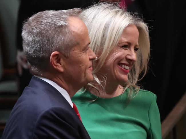 Bill Shorten and wife Chloe after delivering his Budget reply speech 2019. Picture: Kym Smith