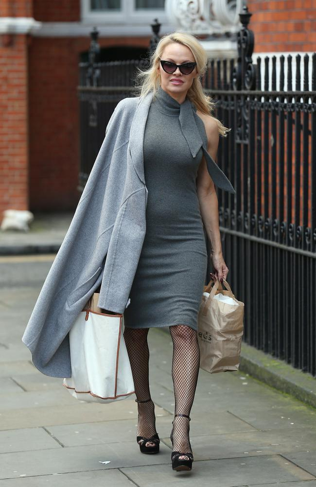Pamela Anderson seen at the Ecuadorian Embassy taking vegan cheeseburgers to Julian Assange on February 7, 2017. Picture: Neil Mockford/GC Images