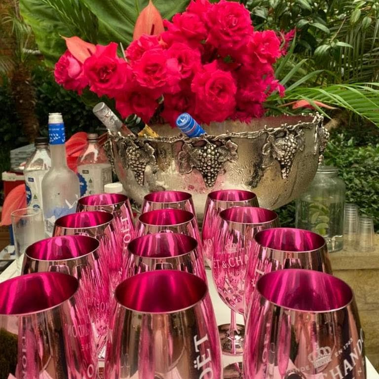 The rose Moët was served in big pink goblets. Picture: Supplied