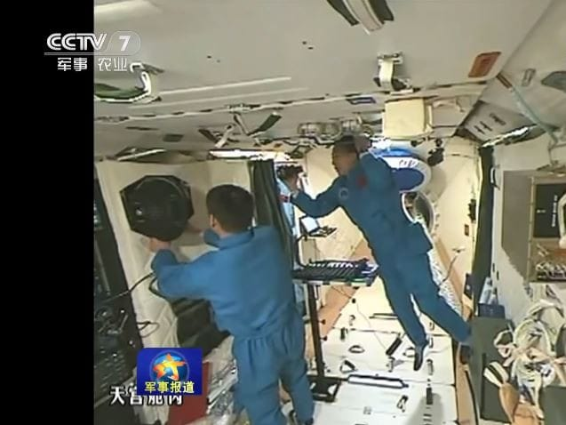 Chinese astronauts aboard the Tiangong-1 space station before it crashed back to Earth earlier this year. Tiangong-2 remains in orbit.