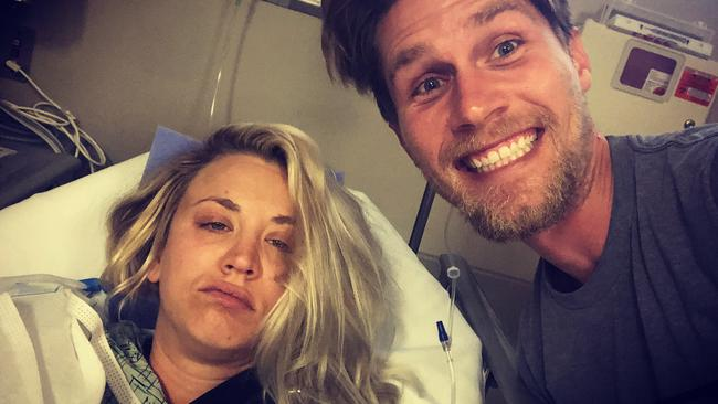 Kaley Cuoco and her hubby after her shoulder surgery.