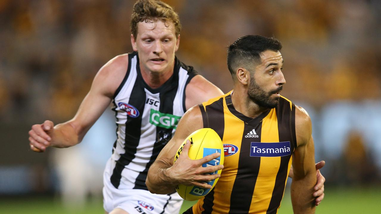 Paul Puopolo's Hawthorn takes on Will Hoskin-Elliott's Collingwood on Friday. Picture: Michael Klein