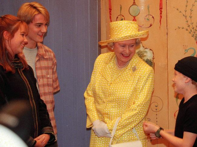 The Queen visited the set of Round The Twist back in 2000. Clearly they worked some magic on her too as she looks exactly the same as she did nearly 20 years ago. Picture: Mark Smith