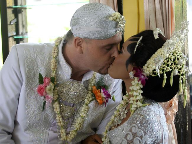 Stephens and Christine kiss after the ceremony which took place in 2011.