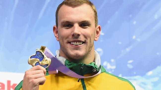 Kyle Chalmers after winning gold in the men's 100m final at the Pan Pacs in Tokyo.