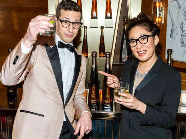 Andy Samberg and Sandra Oh celebrated with tequila at their private Golden Globes after-party. Picture: Getty Images