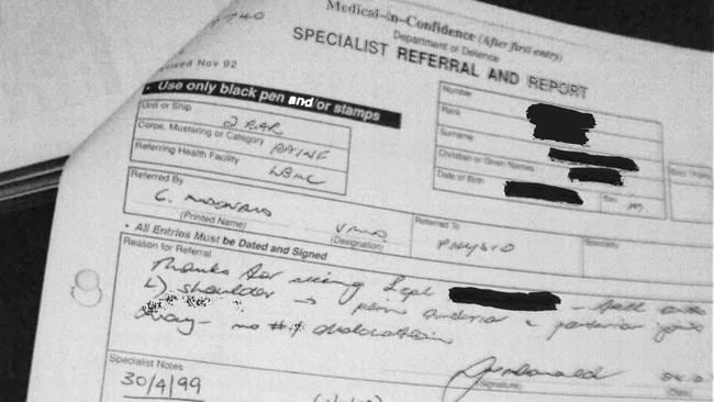 Confidential ... A selection of the private documents of veterans received by another in an FOI response from the Department of Veterans Affairs (redacted for privacy reasons). Picture: Supplied