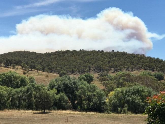 Bushfire over the Goulburn region today. Picture: Warren Brown