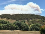 Bushfire over the Goulburn region today. Picture: Warren Brown