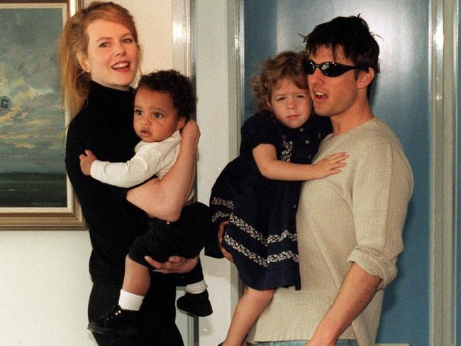 Happier times: Nicole and Tom with Connor and Isabella in 1996. Picture: AFP