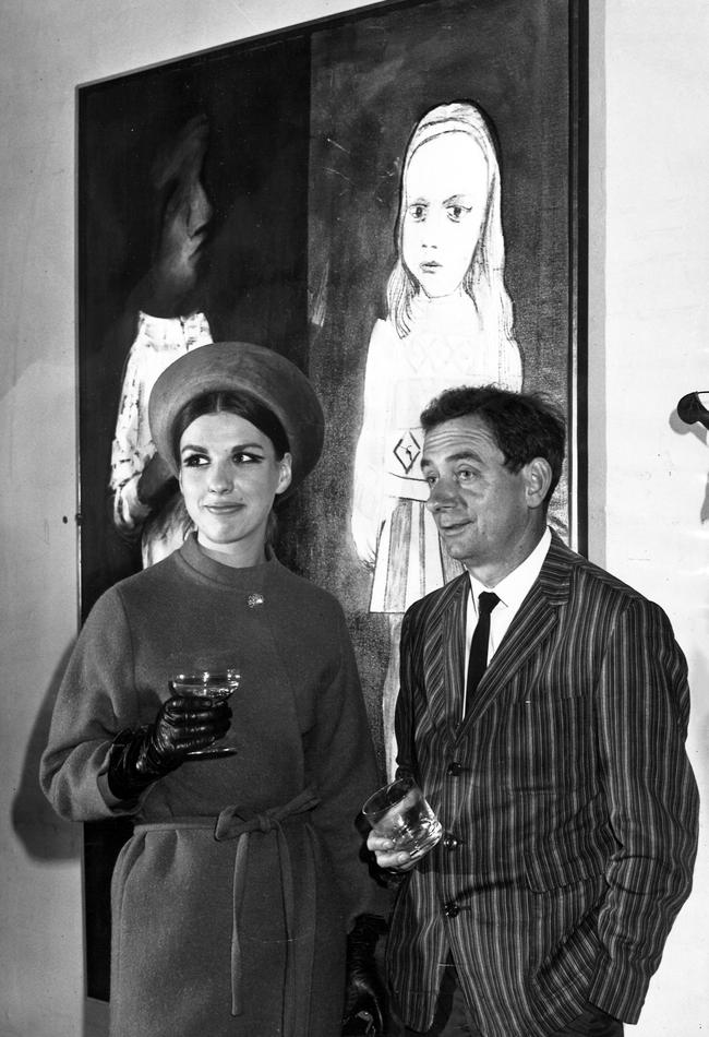 Artist Charles Blackman with Mrs Asher Bilu, of Toorak, at the opening of an exhibition of painting at the South Yarra Gallery in 1966.
