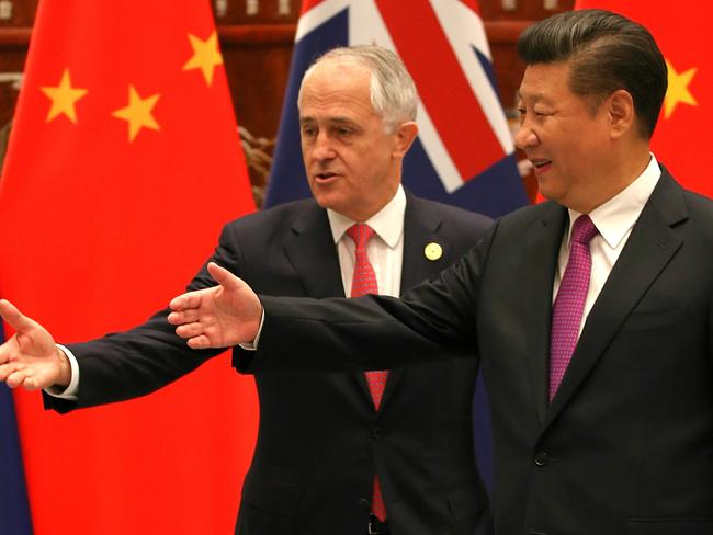 Prime Minister Malcolm Turnbull and Chinese President Xi Jinping at the G20 Leaders Summit. Picture: Lyndon Mechielsen/News Corp.
