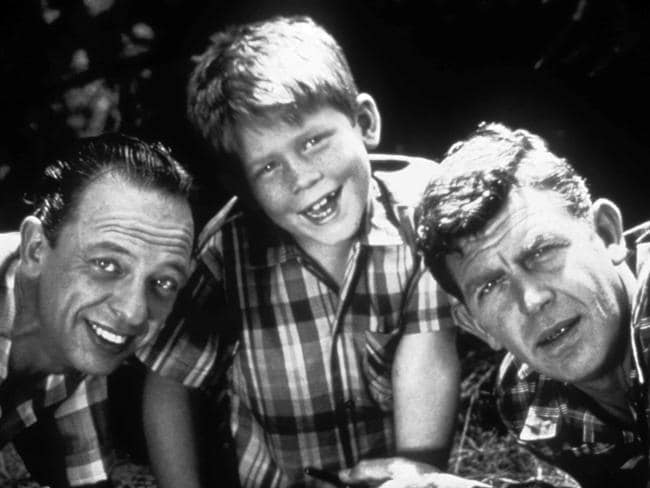 Actors Don Knotts, Ron Howard and Andy Griffith in a scene from The Andy Griffith Show.
