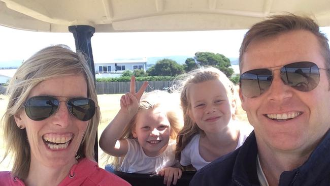 Angie Cunningham with husband Pat and daughters Sophie and Maggie. Picture: Supplied