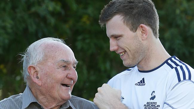 Olympic boxer Jeff Horn with his grandfather Ray Horn. Picture: Peter Wallis