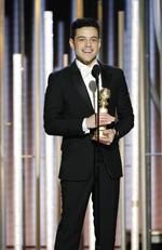 Rami Malek from Bohemian Rhapsody accepts the Best Actor in a Motion Picture Drama award onstage during the 76th Annual Golden Globe Awards on January 6, 2019. Picture: Getty