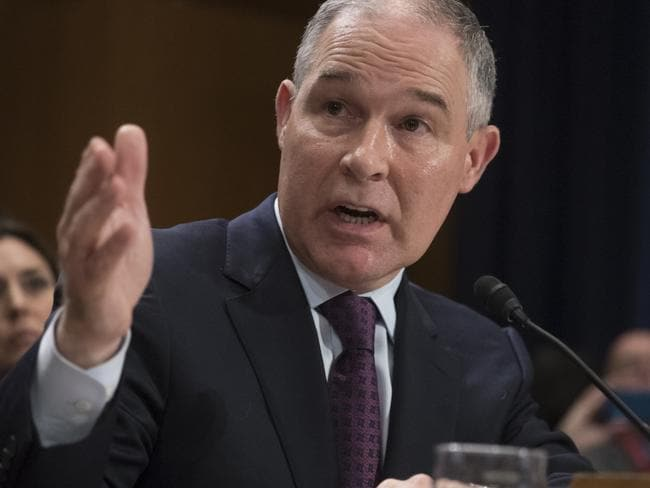 Oklahoma Attorney General Scott Pruitt testifies on Capitol Hill in Washington at his confirmation hearing before the Senate Environment and Public Works Committee. Picture: AP.
