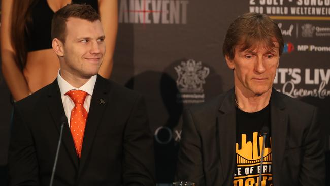 Jeff Horn with coach Glenn Rushton. Picture: Peter Wallis