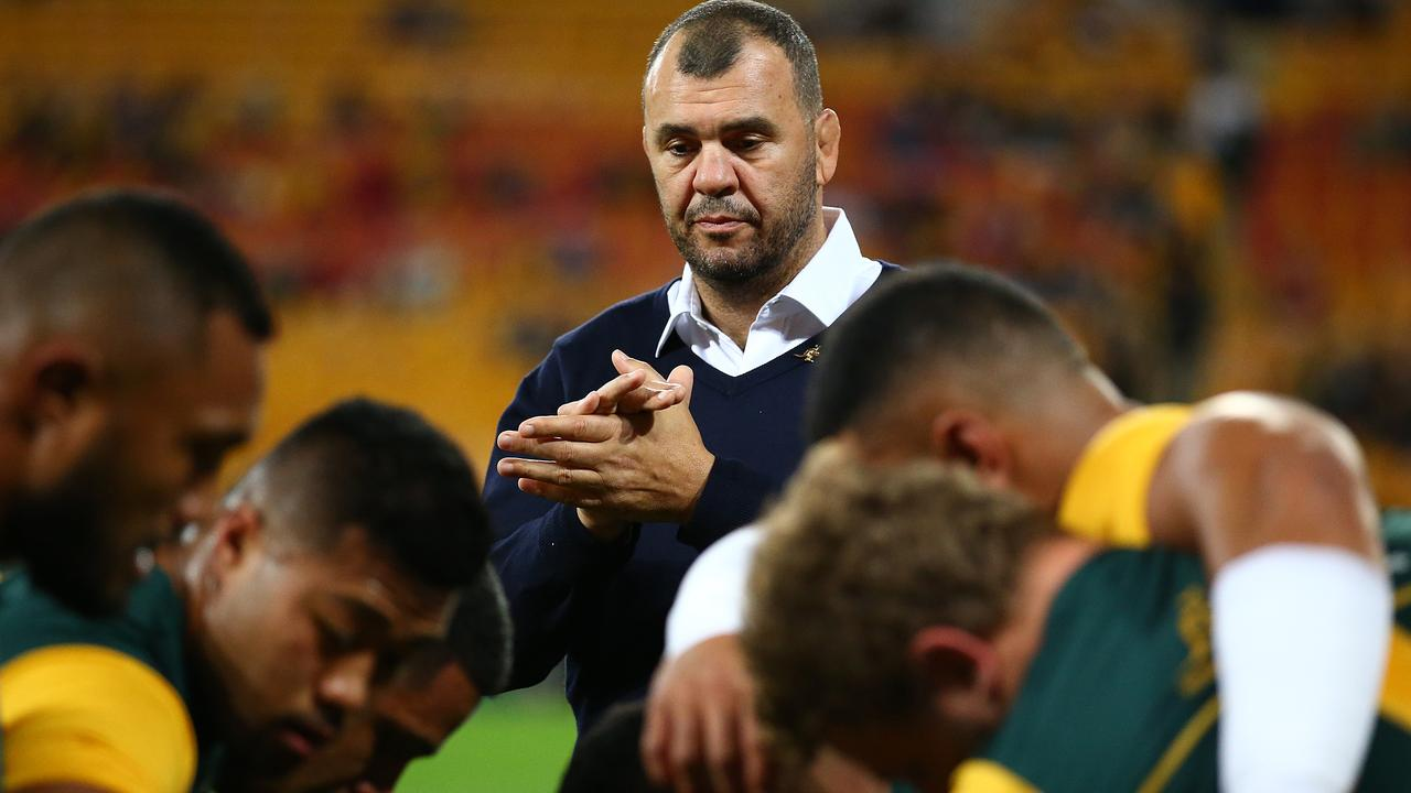Wallabies coach Michael Cheika looks on at warm up during the 2019 Rugby Championship.