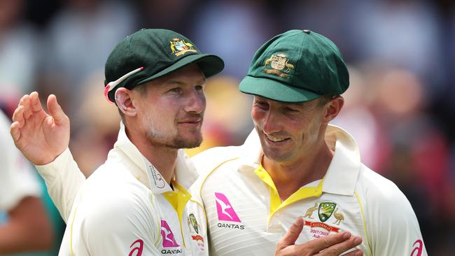 Cameron Bancroft (L) and Shaun Marsh celebrate victory at the SCG.