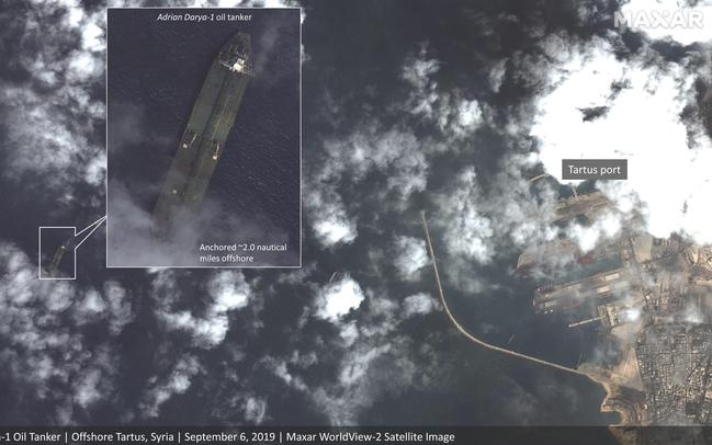 Satellite images appear to show an Iranian oil tanker Adrian Darya-1 — that has been 'dark' for several days — just outside of war-torn Syria. Picture: Maxar Technologies / AAP