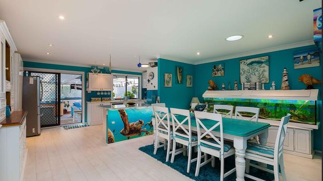 Check out the turtle mural built into the kitchen bench.