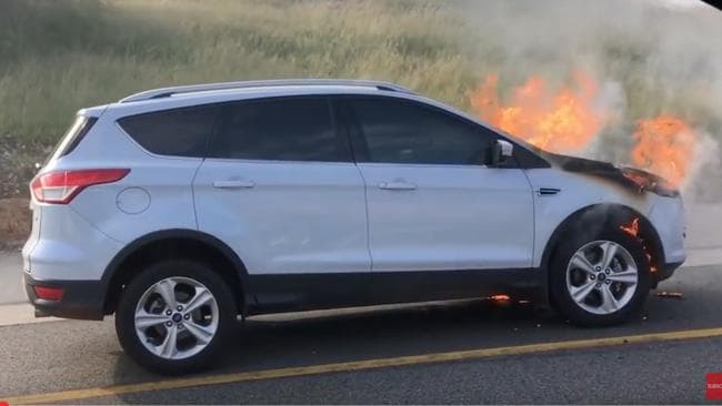 The latest Ford Kuga recall is in addition to an earlier safety bulletin on the same model that was at risk of an engine fire, such as this example in South Africa in January 2017. Picture: YouTube