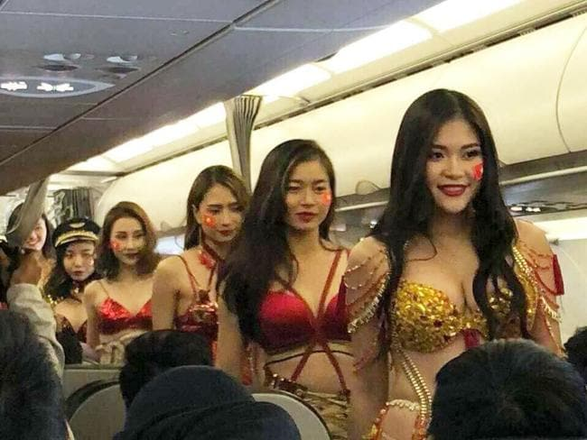Vietjet has previously found infamy with its stunts involving scantily clad women on board. Picture: Supplied