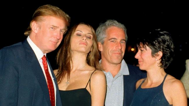 Donald Trump and wife Melania pictured with Epstein and British socialite Ghislaine Maxwell at the Mar-a-Lago club in 2000. Picture: Davidoff Studios/Getty Images