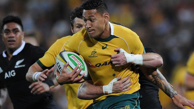 Israel Folau on the charge for the Wallabies.