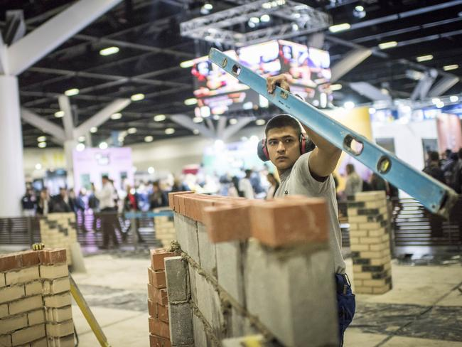 A competitor in the Bricklaying category at the 2018 WorldSkills National Championships. Picture: WorldSkills Australia.